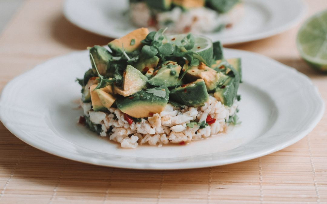 Thai spiced crab and avocado timbale