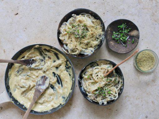 Creamy mushroom and sage pasta