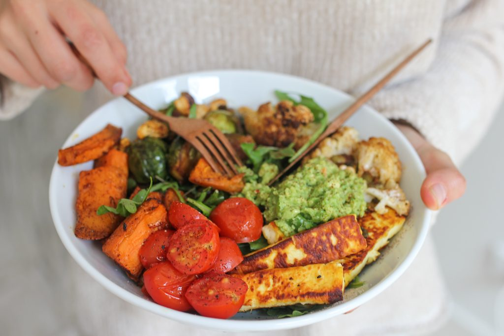 Winter Nourish Bowl, crispy brussels sprouts recipe