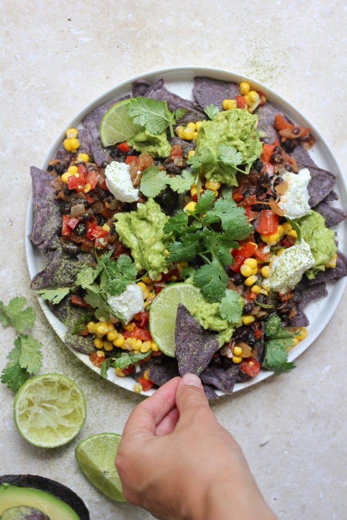 matcha nachos, vegan nachos, vegan Mexican, matcha powder, recipe