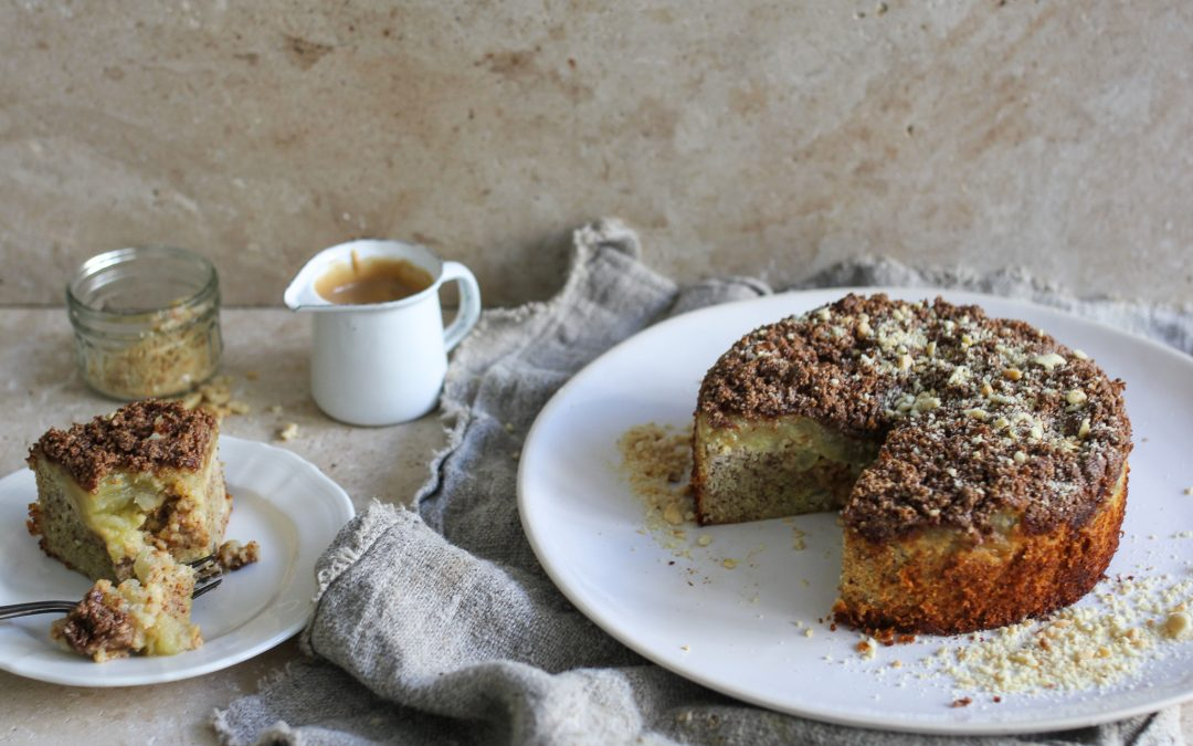 Peanut and Apple Streusel Cake
