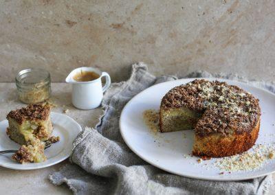 Peanut and apple streusel cake