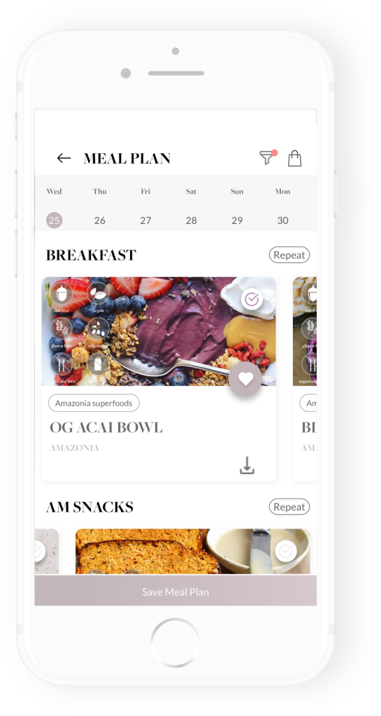 healthy luxe app meal planner