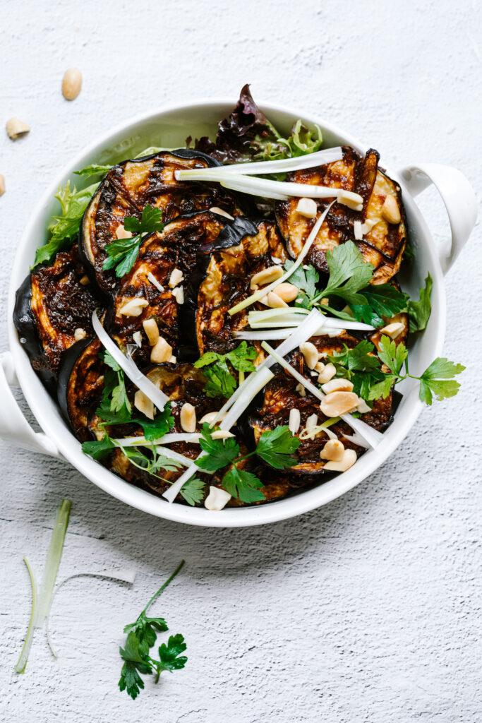 Grilled peanut butter eggplant, eggplant recipes, easy eggplant recipes, salad recipes, low calorie recipes